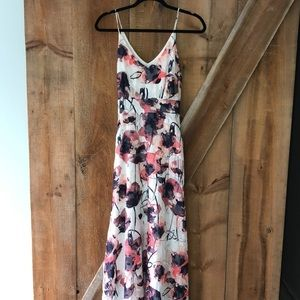 RW&CO navy and coral maxi dress size 4